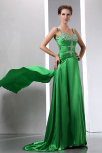Sexy Green Column Court Prom Gown with Beading and Straps Design