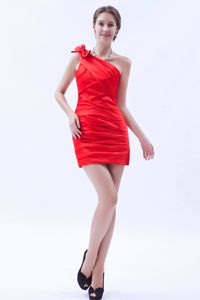 One Shoulder Mini-length Column Bow Accent Junior Prom Dress in Red