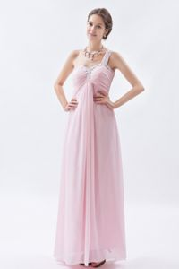 One Shoulder Beaded Baby Pink Empire Dress For Prom Queen in Arniston
