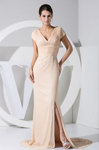 V-neck Cap Sleeves Slit Champagne with Keyhole Dress For Prom Queen