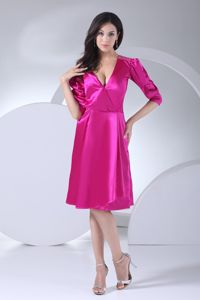 1/2 Puffy Sleeves Surplice V-neck with Sash for Prom Gown in Carletonville