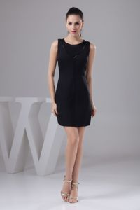 Simple Black Mini-length Prom Gown in Citrusdal Scoop Neckline for Fashion