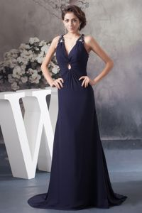 Criss Cross Back Design for Beaded Navy Blue Prom Dress in Cookhouse
