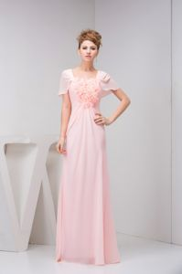 Ruches and Flowers Accent Pink Senior Prom Gowns Cap Sleeves Design