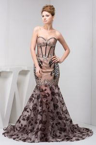 Mermaid Sweetheart Beaded Tan Appliques Dress for Prom in East London