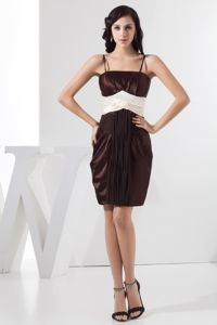 Mini-length Spaghetti Straps Ruched Chocolate Prom Gown with White Sash