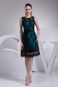 Black Lace Covered Teal Senior Prom Gowns in Faunasig with Sash and Bow