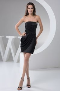 Black Mini Dress For Prom Queen in Germiston Ruches and Beading Accent