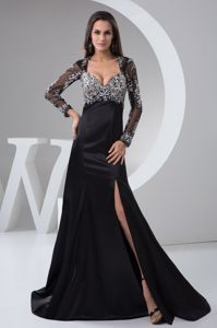 Beading and High Slit for Black Dress for Prom in Gonubie with Long Sleeves