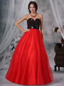 Red and Black A-Line Sweetheart with Paillette Accent for Junior Prom Dress