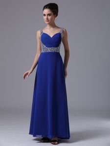 Beading Decorate Straps for Chiffon Royal Blue Dress for Prom in Hillcrest