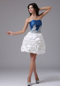 Blue and White Prom Gown in Hout Bay with Appliques and Pick-ups Accent