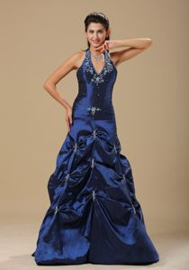 Navy Blue and Appliques Decorate Prom Dress in Isando Halter Top Design