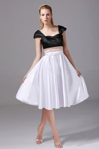 White and Black Prom Court Dresses with Cap Sleeves in South dakota