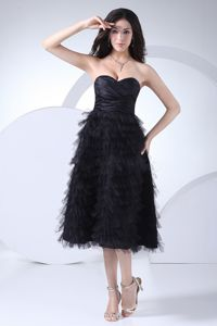 Ruffled Layers for Sweetheart Black 2013 Dress for Prom Queen to Tea-length