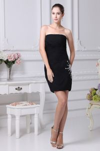 Beading and Ruching Decorated Bodice Black Mini Prom Dresses 2013