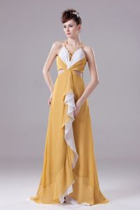 Gold and White Prom Dresses with Halter Top with Ruche and Brush Train