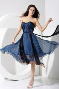 Pleating Sweetheart 2013 Prom Dress in Blue and Black to Tea-length