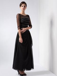 3/4 Length Sleeves for Black Scoop Ankle-length Beading Prom Gowns