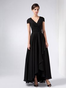 Granby Black A-line V-neck with Cap Sleeves for Senior Prom Gowns