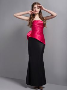 Shawinigan Hot Pink and Black Ruche Junior Prom Dress to Floor-length