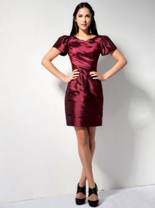 Wine Red Short Sleeves with V-neck for Prom Dresses 2013 to Mini-length