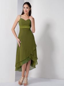 Olive Green High-low Prom Dresses with Spaghetti Straps in Fredericton