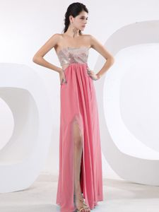 Rose Pink Prom Dresses with Sequin Bodice High Slit in Saint Hyacinthe