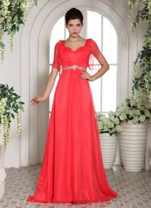 Coral Red Square with Short Sleeves Prom Gown Dress In South Carolina