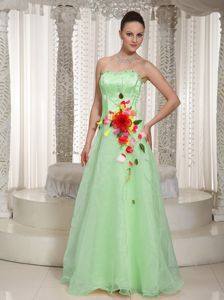 Beading Prom Gowns with Handle Flowers in Apple Green from Caledon