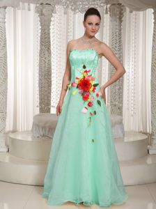 Aurora Beading Dresses for Prom with Handle Flowers in Apple Green