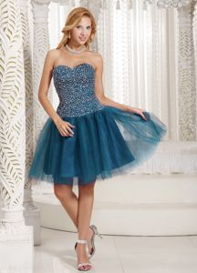 Teal Sweetheart and Beaded Bodice Dress for Prom Queen in Granby