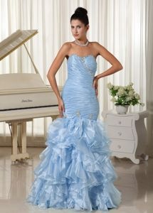 Ruched Bodice and Ruffles Skirt for Mermaid Prom Dress in Light Blue