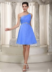 Moncton Beading One Shoulder Mini Prom Dresses in Empire and Blue