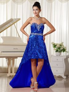 Paillette Over Skirt with Sweetheart Prom Court Dresses in High-low