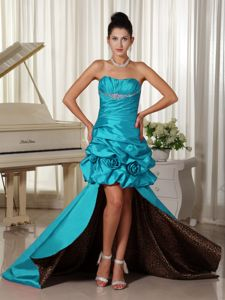 Saint John High-low Prom Dresses with Ruched and Beading Bodice