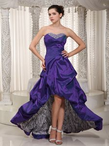 Eggplant Purple Sweetheart High-low Prom Dresses with Pick-ups in Derby