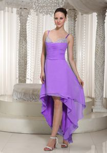 Elegant Lavender Beaded High-low Prom Gown Dress with Spaghetti Straps