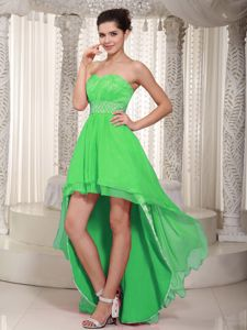 Lovely Spring Green Sweetheart High-low Formal Prom Dresses with Lace