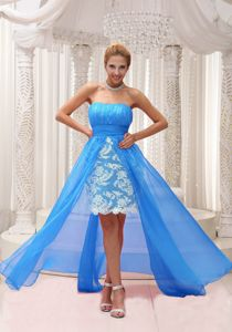 Strapless Ruched Aqua Blue High-low Dress for Prom with Lace in Florence