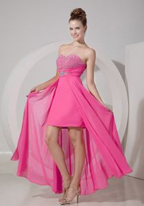 Sexy Hot Pink Beaded Sweetheart High-low Junior Prom Dress with Beading