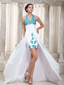 Elegant Halter High-low White Senior Prom Dress with Appliques in Indiana