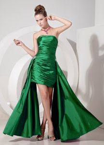 Special Hunter Green Strapless Ruched Short Dress for Prom with Appliques