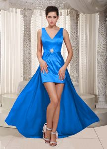 Beautiful V-neck High-low Beaded Sky Blue Formal Prom Dress in Antioch
