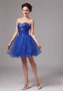 Hot Sale Royal Blue Sweetheart Mini-length Prom Gown Dress with Sequins