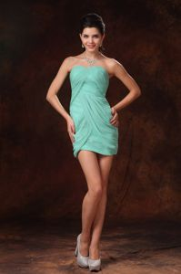 Simple Turquoise Sweetheart Pleated Short Informal Prom Dresses in Chester