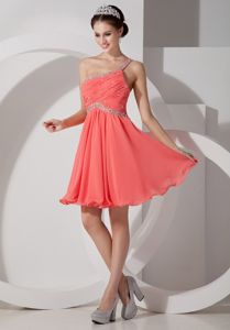 Lovely Beaded One Shoulder Watermelon Short Prom Dresses with Ruche