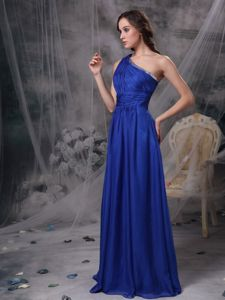 Royal Blue Ruched Single Shoulder Brush Formal Prom Dress with Beading