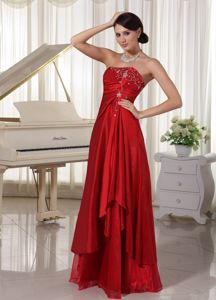 Embroidery Strapless Red Layers Lace Up Floor-length Prom Party Dress