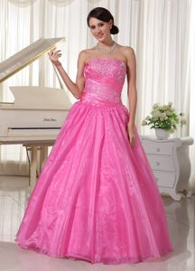 Puffy Strapless Ruched Embroidery Beading Prom Dresses in Melton VIC